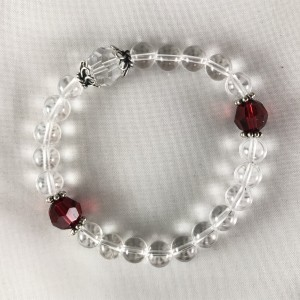 Rock Crystal with Red Swarovski Bracelet Mala