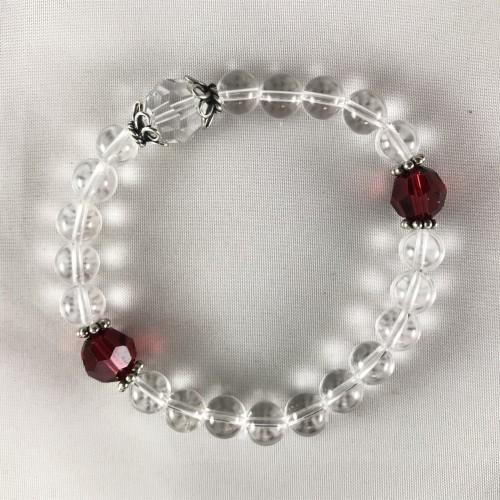 Rock Crystal with Red Swarovski Bracelet Mala
